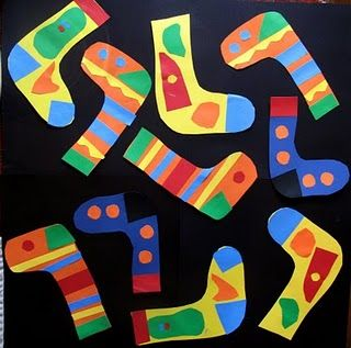 """A fun collage project for Lois Ehlert's book """"A Pair of Socks"""""""
