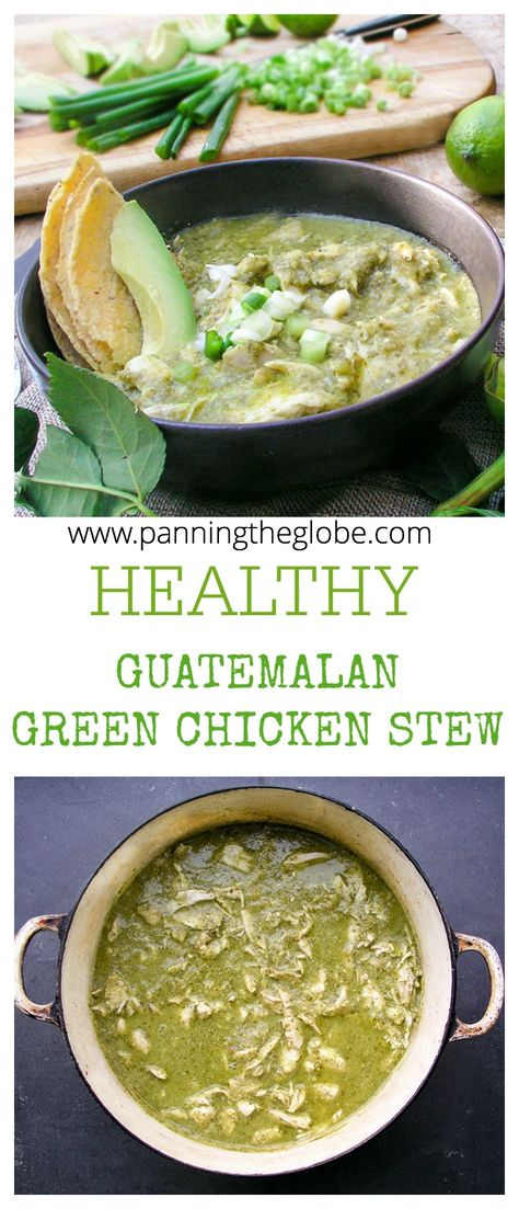 A healthy, delicious stew of tender shredded chicken simmered in a fresh tangy tomatillo-cilantro sauce, thickened with ground toasted pumpkin seeds and sesame seeds. #glutenfree