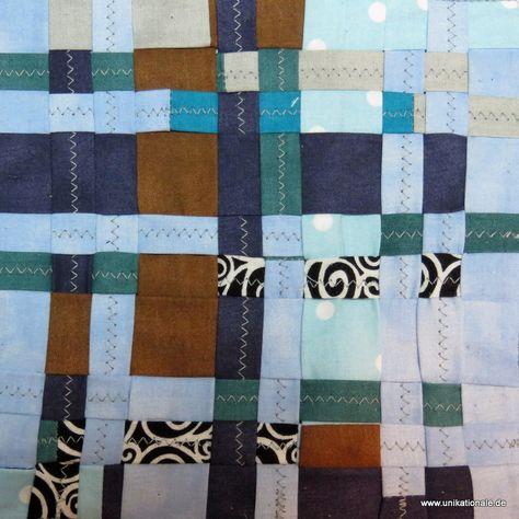 """""""Patchflechten"""": Dieses Muster ist eine Mischung von Patchwork und japanischer Flechttechnik, toll zur Verarbeitung von Stoffresten. Mehr in meinem Blog http://www.unikationale.de/2015/02/18/wie-bitte-patchflechten/  ///This pattern is a mixture of patchwork and Japanese meshwork - great to use up left over fabric"""