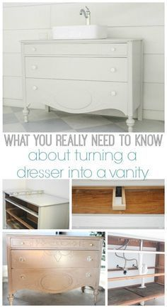 How To Make A Dresser Into A Bathroom Vanity The Nitty Gritty Commode De Salle De Bains Vanite Salle De Bain Deco Salle De Bain