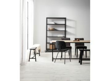 Stoel Carson zwart ijzer en kunstleer 80x46x52 cm kopen