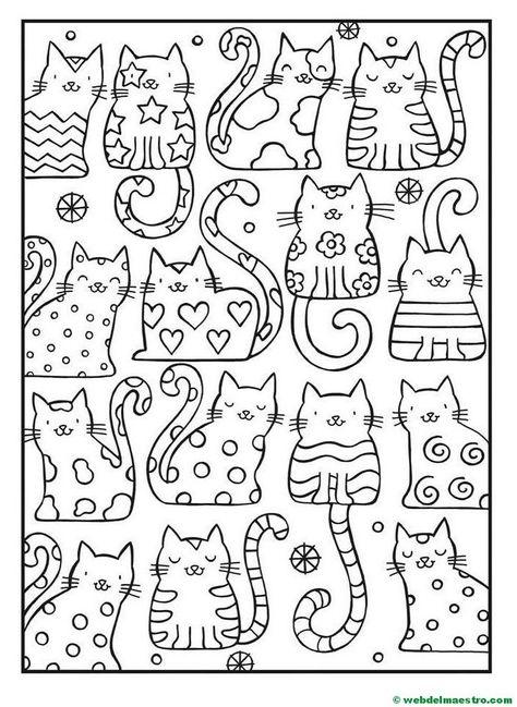 Dibujos Antiestres Libro De Colores Gatos Para Pintar Y Gatito