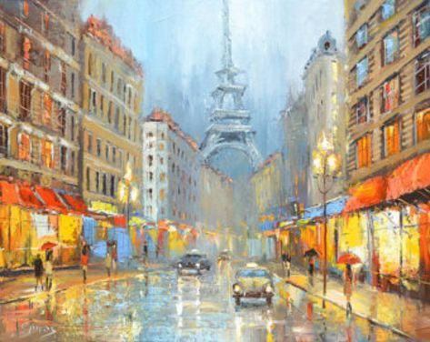 Original Contemporary Night in Paris Modern Art Oil Painting by Spiros.