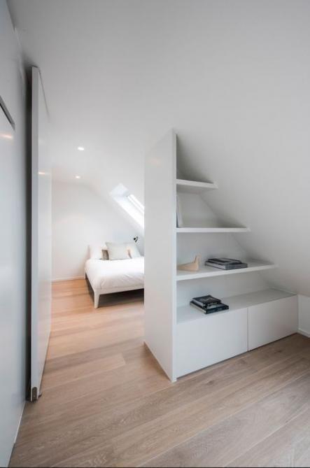 Trendy Attic Storage Shelves Sloped Ceiling Built Ins Ideas Attic Bedroom Designs Attic Bedroom Small Loft Room