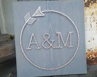 Circle Arrow w/ Monogram / Monogram Sign / Wedding Gift / Anniversary Gift