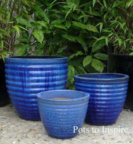 Large Glazed Blue Bee Hive Planter Pot Woodside Garden Centre Pots To Inspire Planter Pots Blue Planter Woodside Garden Centre
