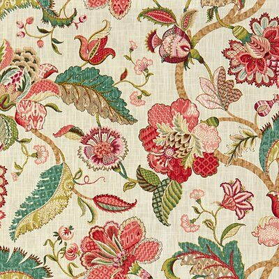 Upholstery Fabric By The Yard Coral Linen Modern Floral Egremont Drapery Fabric By The Yard Covington