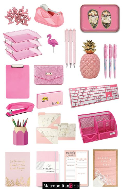25 cute pink office supplies & supplies for your workspace Pink stationery and office supplies Cute Office Supplies, Cool School Supplies, Art Supplies, Office Ideas For Work, Pink Office Decor, Tiny Office, Word Office, Garage Office, Closet Office
