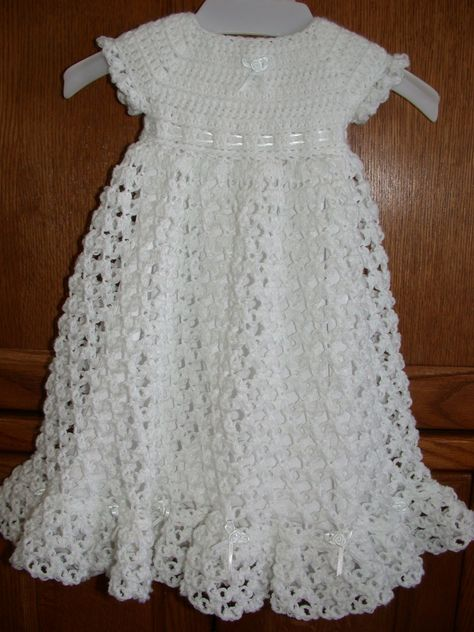 Free Crochet Christening Gown   ... crocheted baby blessing christening dress by babysewsoft on etsy