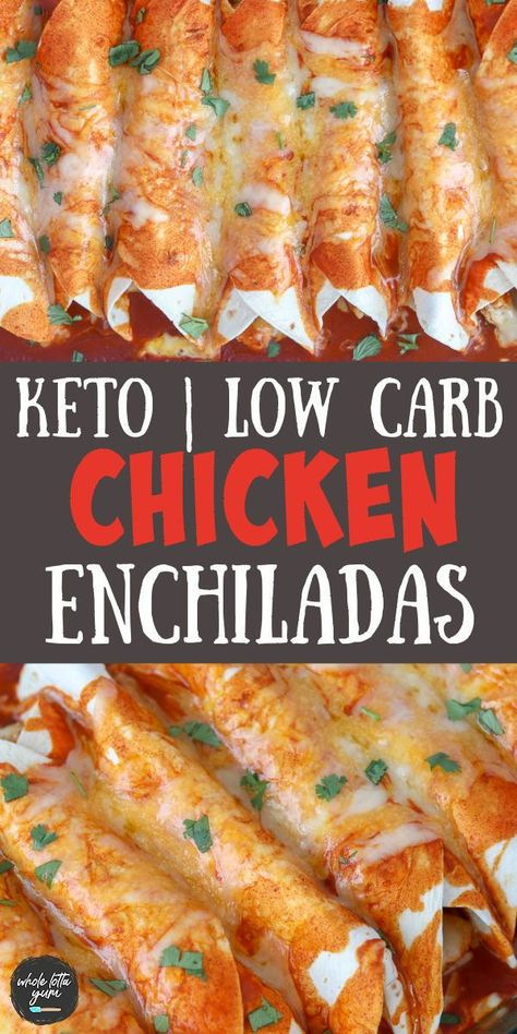 Keto enchiladas with chicken when you're craving mexican food for dinner but need it to be a low carb or keto dinner recipe. The low carb enchiladas use carb balance low carb tortillas.
