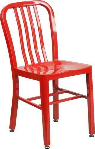 Modern Industrial Style Red Metal Restaurant Chair Indoor