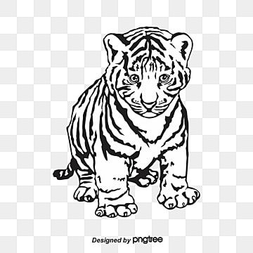 Silhouette Of Black And White Young Tiger Realism Silhouette Animal Png And Vector With Transparent Background For Free Download Black And White Artwork Black And White Cartoon Black And White Abstract