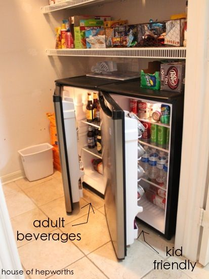 mini fridges in pantries for drinks you don't have room for in the fridge in your kitchen. brilliant