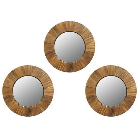 Hometrends 3 Piece Wood Circle Mirror Set Wood Mirror Set Circle Mirror Wood Circles