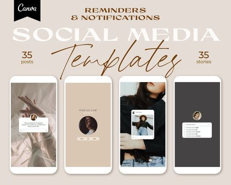 70 Instagram Templates. Instagram Story Template. Notifications and Reminders Templates. Engagement Booster. Social Media Templates