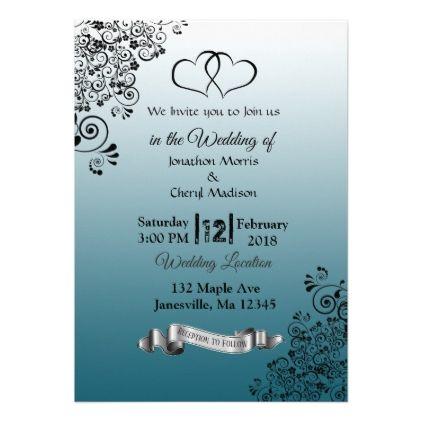 Slate Blue Simple Hearts Wedding Invitations Zazzle Com Heart Wedding Invitations Blue Wedding Invitations Diy Blue Wedding Invitations