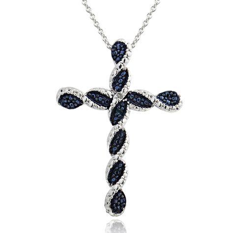 10k or 14k Yellow Gold Genuine Diamond Accented Fleury Cross Filigree Pendant