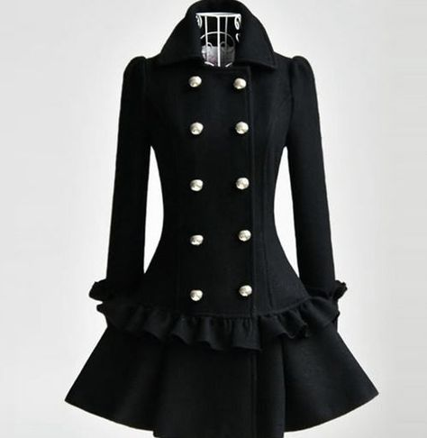 Ready for shipping black ruffled trench coats for women.   Product: coat dress Color:black Material:wool blend Decoration:buttons,ruffles Sleeve:long Closure:buttons   MEASUREMENT: XL bust:38-39inches length:89cm sleeve length:62cm     I ship from United States. Item is READY IS READY FOR SHIPPING. Receive your order after 3-5 business days. I ship via USPS. Please contact me IMMEDIATELY if you wanted your order to be ship overnight. Please check our shipping options. I appreciate that much i...