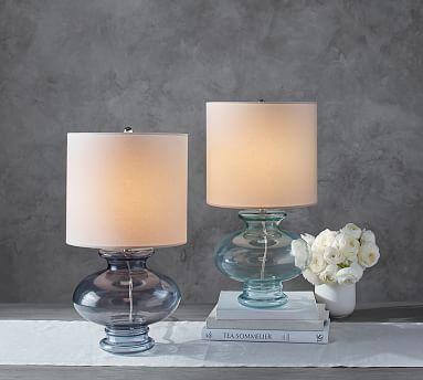 Aubrey Glass Table Lamp | Cream, white living room, Table