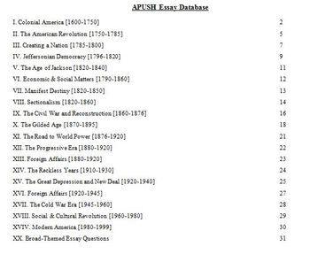 Apush sample long essays and long essay database