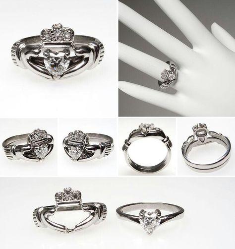 Claddagh Engagment Set Irish Wedding Rings Unusual Wedding