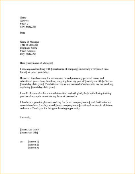 Resignation Letter Two Weeks Notice Images About Resignation
