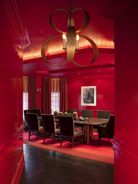Mount Kisco Dining Room Cellar Monochromatic Red