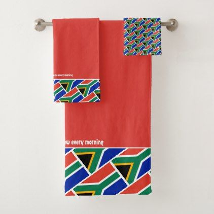 South Africa Flag Personalized Scripture Red Bath Towel Set