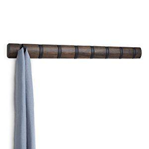 Schals Espresso M/äntel Umbra Flip 5 Garderobenhaken Handtaschen und Mehr Moderne Schlichte und Platzsparende Garderobenleiste mit 5 Beweglichen Haken f/ür Jacken