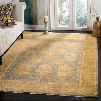 Oushak Mansoura Southwestern Hand Knotted Wool Gray Gold Area Rug