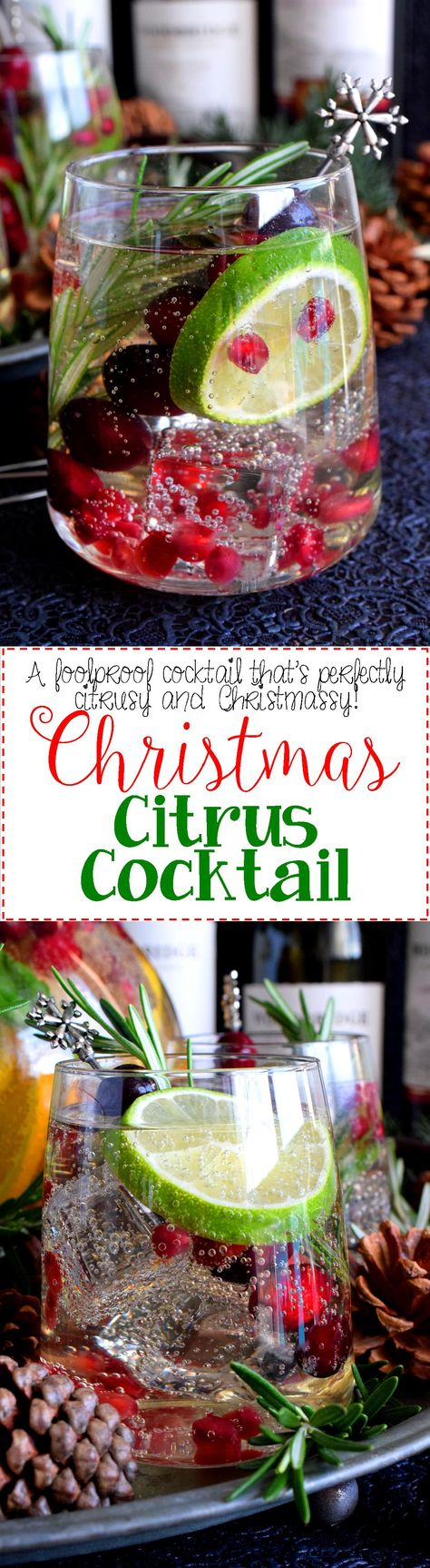Christmas Citrus Cocktail - In need of a stress-free holiday drink that everyone will love?  This Christmas Citrus Cocktail is super easy, very refreshing, and beautifully festive!