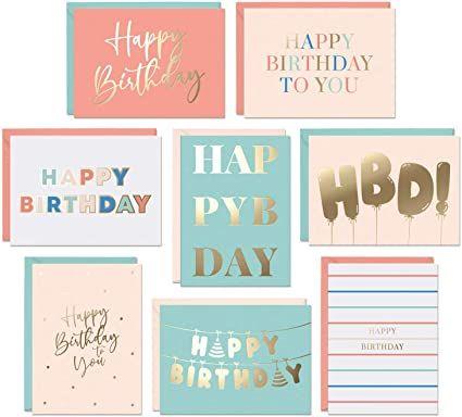 Amazon Com Set Of 48 Gold Foil Bulk Birthday Cards Assortment Bulk Happy Birthday Card With En Blank Birthday Cards Birthday Cards For Women Birthday Cards