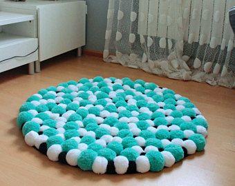 Heart Shaped Pom Pom Area Rug Pom Pom Accent Rug Pom Pom Throw