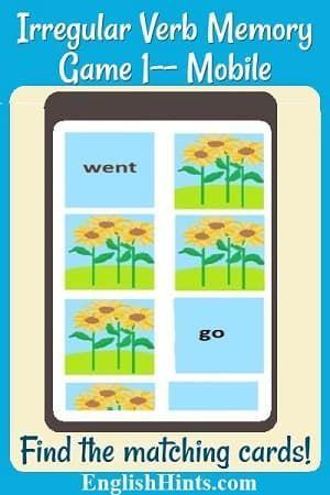 Irregular Verb Memory Game 1 for Mobile | TOEFL Test Preparation