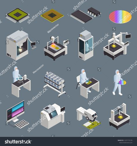 Semiconductor chip production isometric icons collection with isolated hi-tech facilities and supplies with human characters vector illustrationicons#collection#isolated#isometric