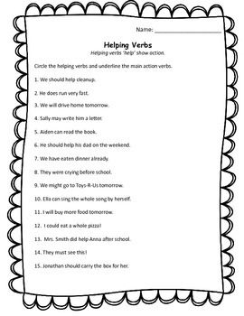 ELA VERBS Helping, Linking, & Action WORKSHEET #1 w/ Answers ...