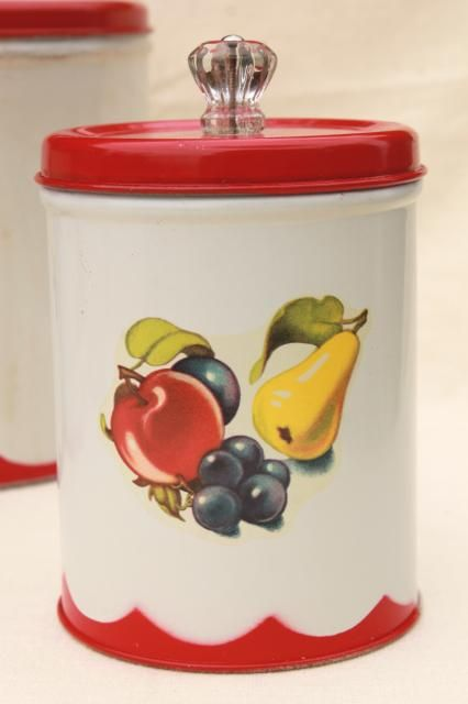 vintage canister set tins w/ 1950s retro fruit print ...