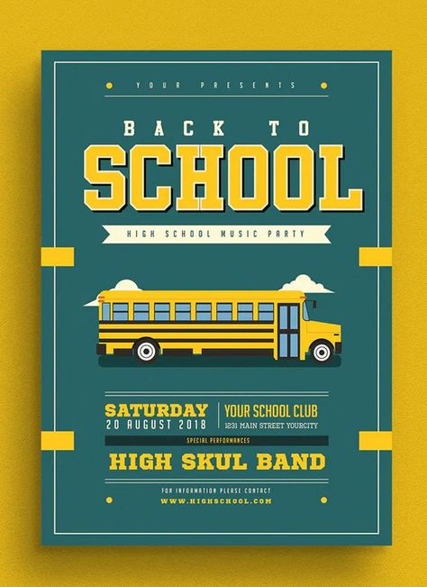 Back To School Event Flyer Template AI, PSD