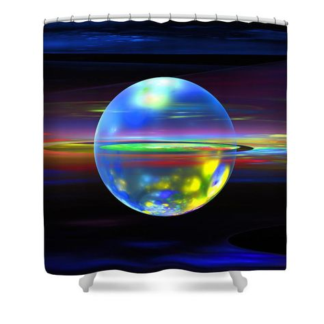 """Shower curtain with blue and yellow sphere on black background. Colorful shower curtains are made from 100% polyester fabric and include 12 holes at the top of curtain for simple hanging from your own rings. Shower curtains are 71"""" wide by 74"""" tall....."""