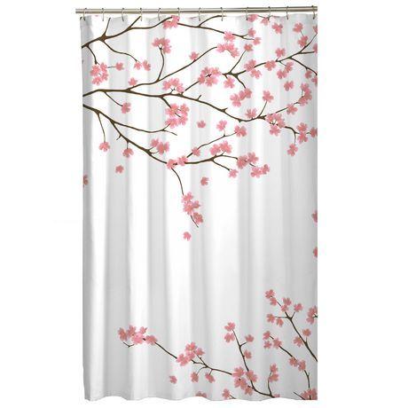 Mainstays Mainstays Cherry Blossom Fabric Shower Curtain Pink