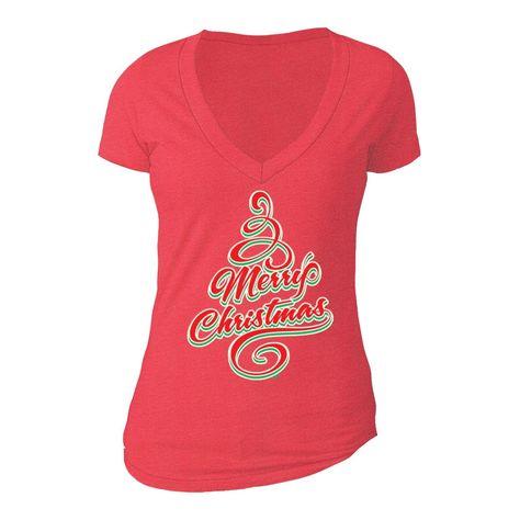 XtraFly Apparel Women's Merry Xmas Family Tree Ugly Christmas V-neck Short Sleeve T-shirt - L