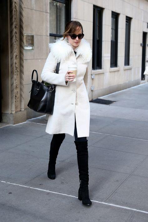 Dakota Johnson Anticipates the Snowstorm in New York With Winter White