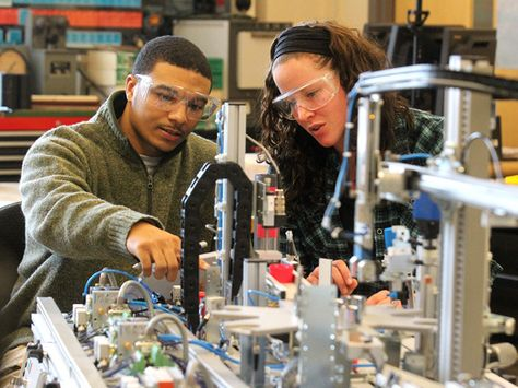 Mechatronics students at California University of Pennsylvania are prepared for careers in robotics and advanced manufacturing. #mechatronics #robotics #caluofpa