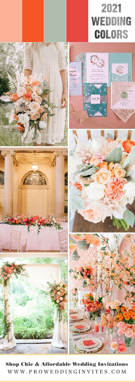 Coral and green color palette will combine the warmth of coral with the freshness of green. It is great colors for spring wedding in 2021. With some rustic, country chic style, the color palette is perfect for outdoor wedding.