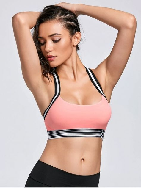 Contrast Band Racerback Sports Bra - Pink M