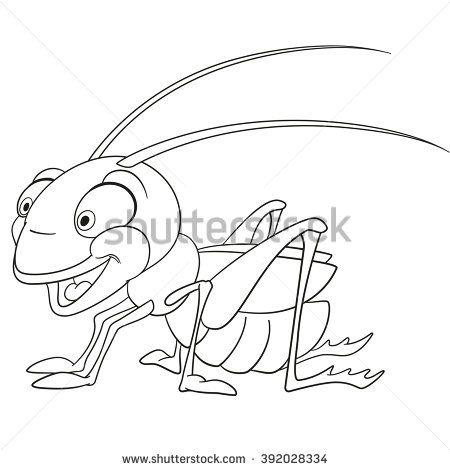 Cute And Funny Smiling Cartoon Grasshopper Locust Katydid