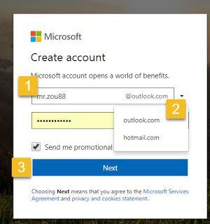انشاء حساب اوت لوك وتسجيل الدخول على Outlook Com Agree Outlook Statement