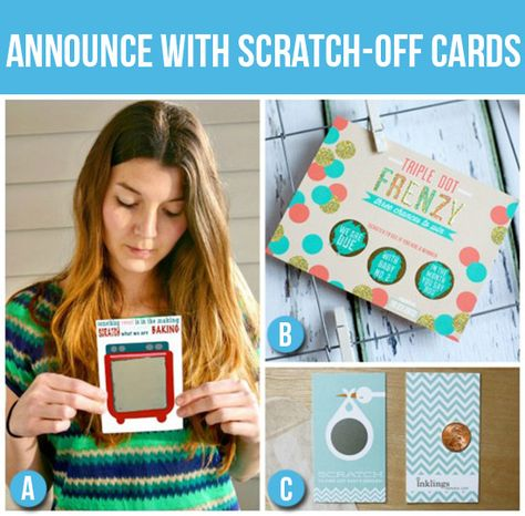 50 Creative Pregnancy Announcements- LOVE these scratch-off cards!