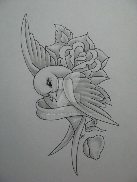 Bird and Rose by madtattooz on @DeviantArt