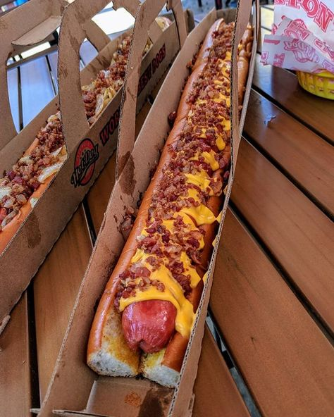2ft bacon cheese dog 😍🌭 Who thinks they could demolish this? 😏 📍#Orlando